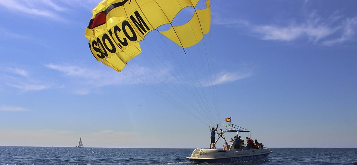 Parasailing official staff in Barcelona